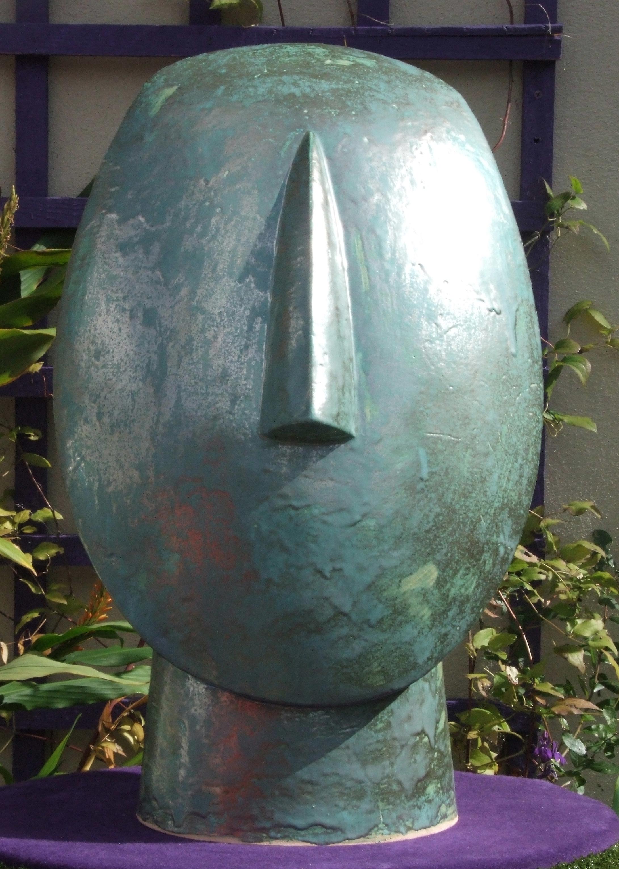 Large Cycladic Goddess Head with green glaze.