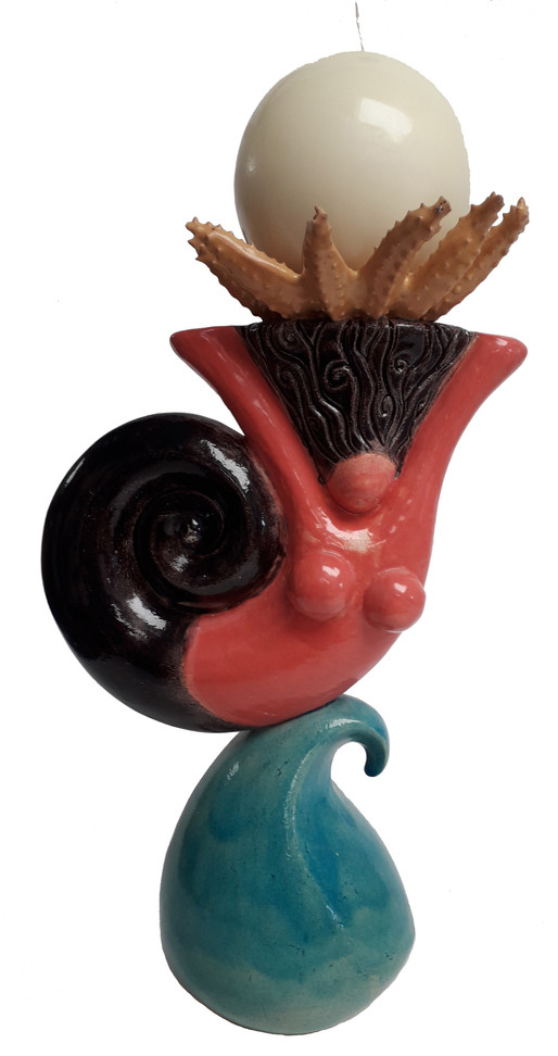 New ceramic sculpture! A Surfing Mermaid candelabra - the only one of her kind!