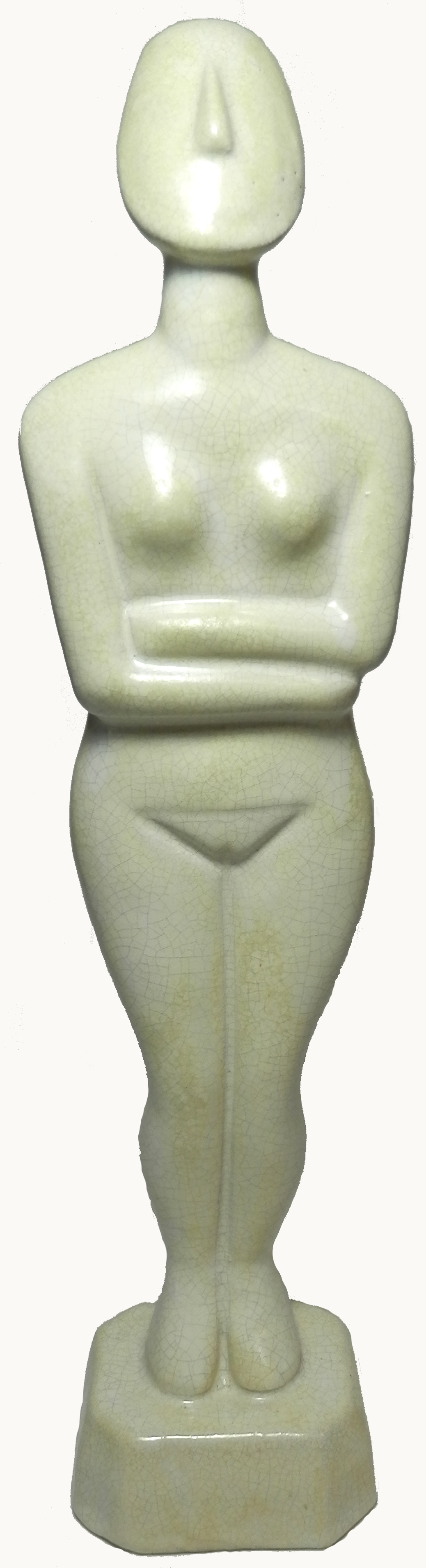 White crackle glazed Cycladic Goddess jpg