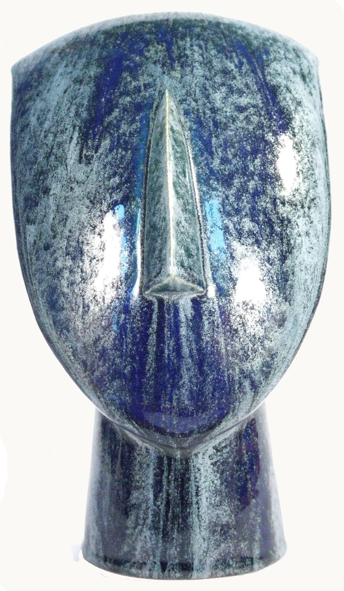 Metallic Blue Shield Cycladic Head