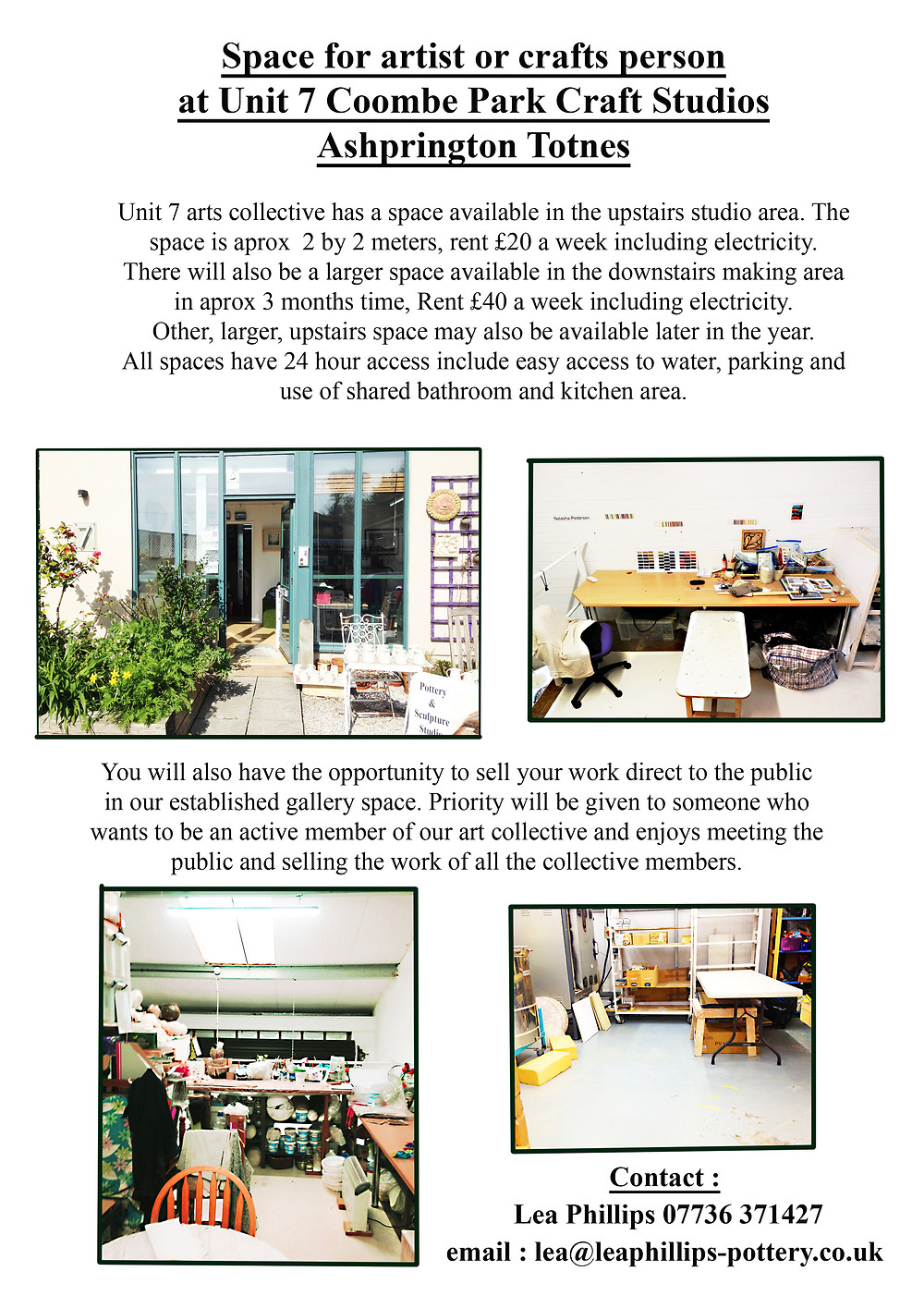 2 artists studio spaces near Totnes, South Devon.