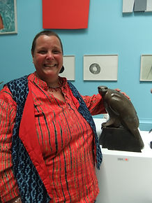 Ama Menec with her Female Buzzard bronze at the Royal Academy Summer Open 2015. This Buzzard sold before the show officially started, and two more of the edition sold during the show.