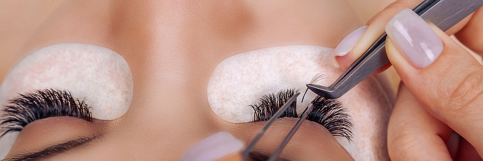 Eyelash Extension Procedure. Woman Eye w