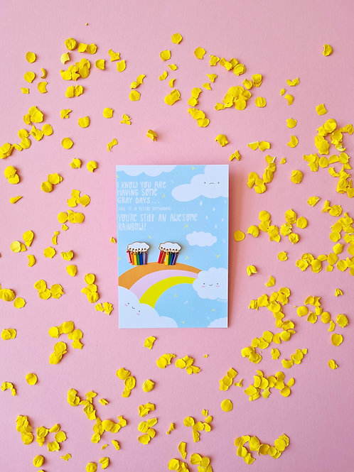 Postcard I know you are having bad days + earrings