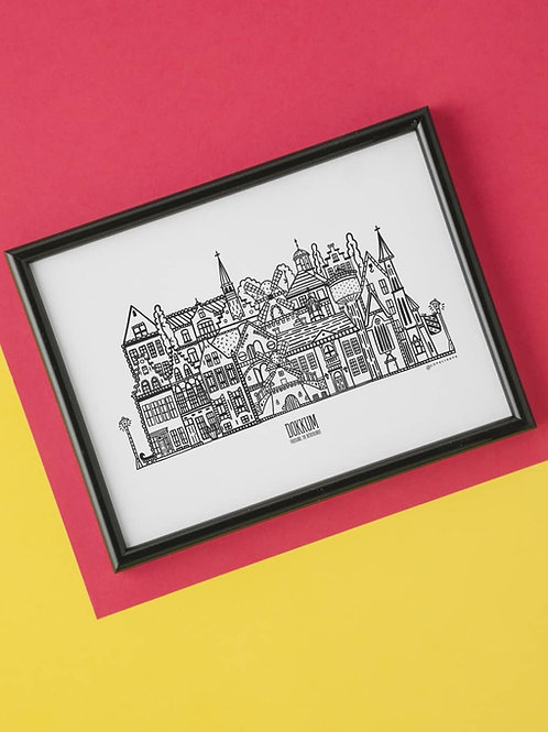 Dokkum print A4 whole city