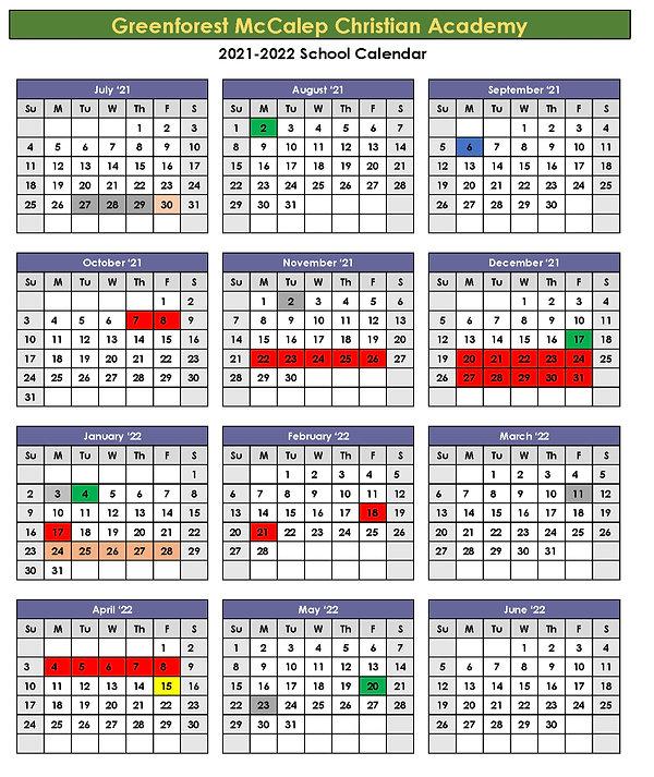 2021-2022 Greenforest Academy Calendar (200%).jpg