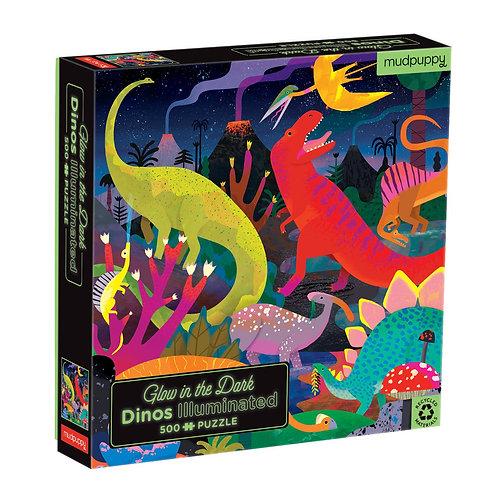 Puzzle fluorescent : dino 500 pièces