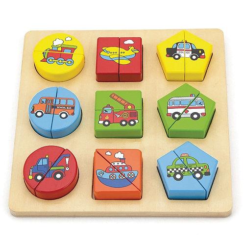 Puzzle géométrique des véhicules