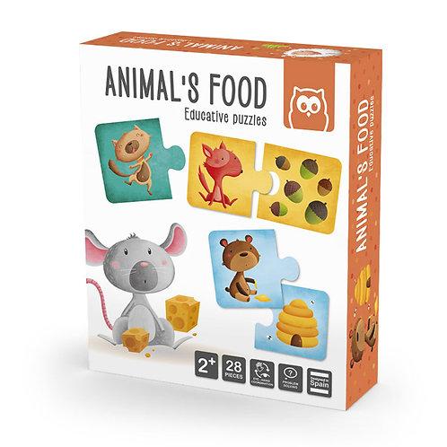 Puzzle l'animal et son aliment Montessori