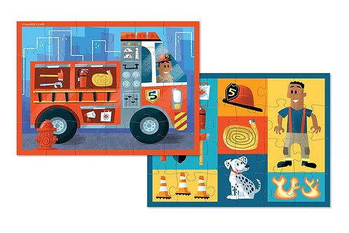Puzzle pompier réversible : 24 pièces