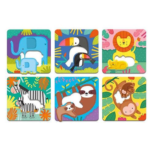 Puzzles animaux et leurs petits - jungle