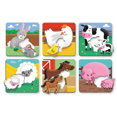 Puzzles animaux et leurs petits - ferme