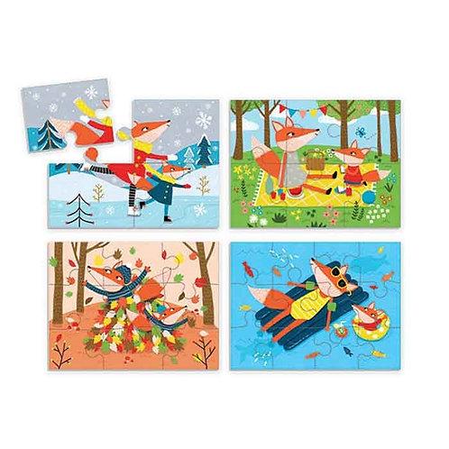 4 puzzles en 1 boîte - 4 saisons