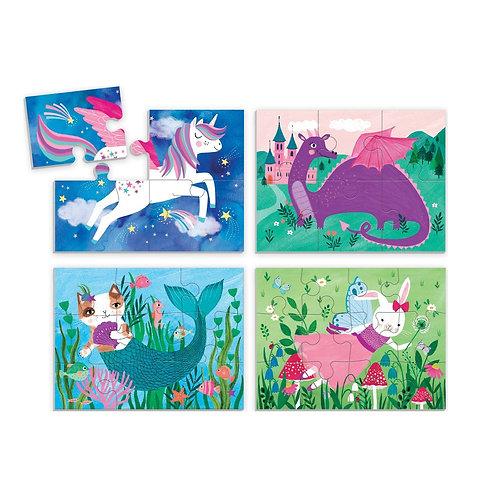 4 puzzles en 1 boîte - licornes