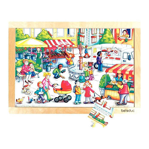 """Puzzle """"le marché"""" 24 pièces bois"""