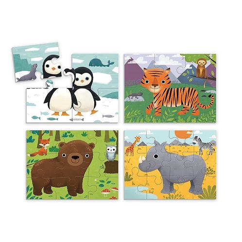 4 puzzles en 1 boîte - animaux
