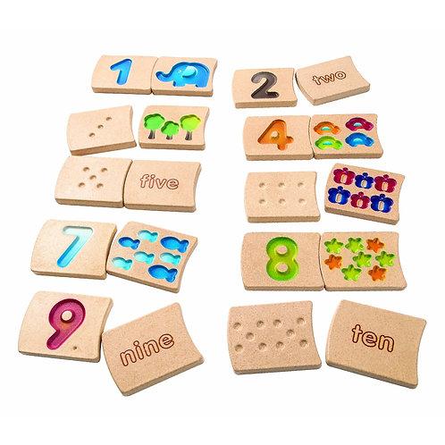 Nombres de 1 à 10 en bois