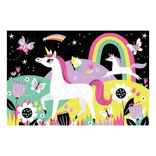 Puzzle fluorescent : licorne 100 pièces