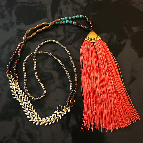 Beaded Tassel Pendant Necklace- Pink Coral and Gold
