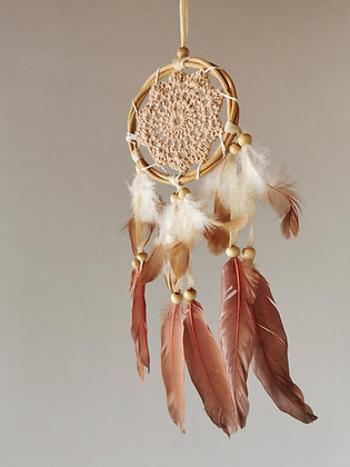 Mocha Crochet Angel Feather Dreamcatcher- Small