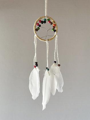 Mini Tree White Macrame Feather Dreamcatcher