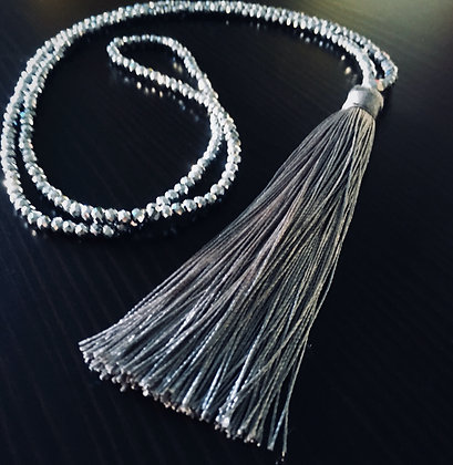 Kapelle Tassel Necklace- Smoked Silver