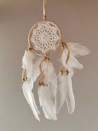 Banded Cream Angel Feather Dreamcatcher- Small