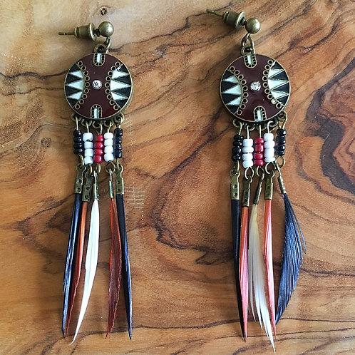 Maasai Mara Shield Feather Earrings- Boho Navajo Earth