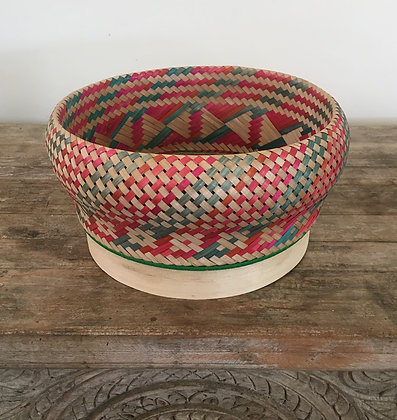 Madagascar Rattan Woven Basket- Strawberry and Lime 1