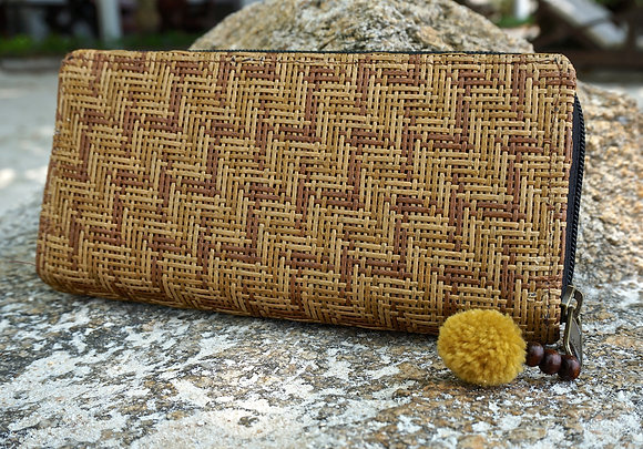 Faux Bamboo Zip Purse with Pom Pom