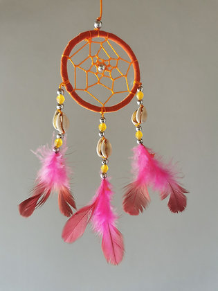 Cowrie Shell Orange Macrame Feather Dreamcatcher