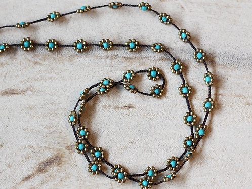 Turquoise Buds Long Length Necklace