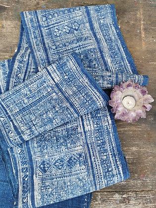 Rare Vintage Hmong Wax Batik Organic Hemp Indigo Textile Panel 5.5m