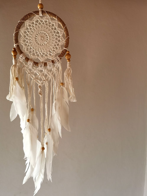 White Angel Oracle Macrame Dreamcatcher- Large