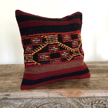 Kas Kilim Cushion Cover- Moorish Maroon FREE SHIPPING