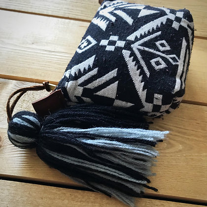 Navajo Purse with Tassel- Aztec Black and White