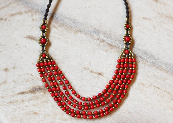 Coral Red Necklace- Brass and Seed Beads