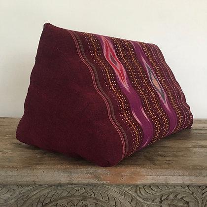 Thai-Angle Thai Triangle Pillow Fuchsia and Mulberry Ikat