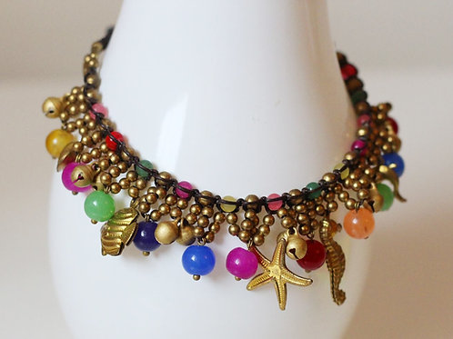 Jemima Charm Anklet- Brass and Multi Beads