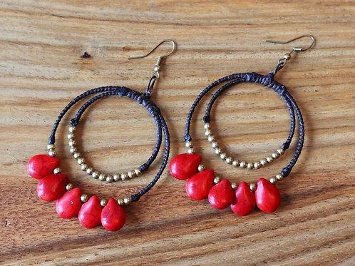 Hooper Teardrop Earrings- Ruby Red and Brass
