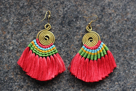 Tassel Dazzle Tropical Tribal Earrings- Ruby and Brass