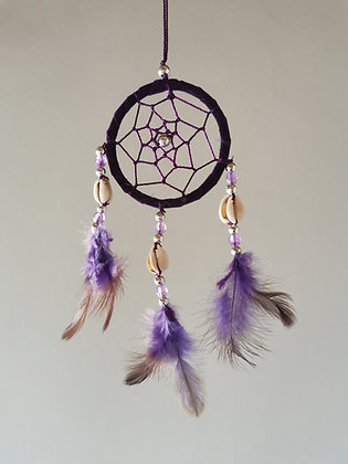 Cowrie Shell Purple Macrame Feather Dreamcatcher