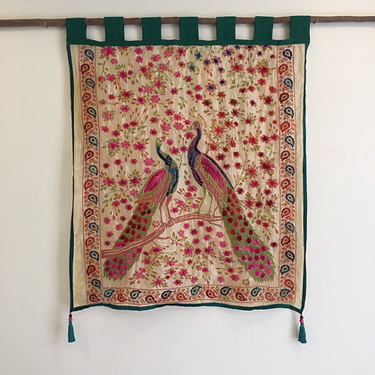 Regal Peacocks Embroidered Wall Hanging- FREE SHIPPING