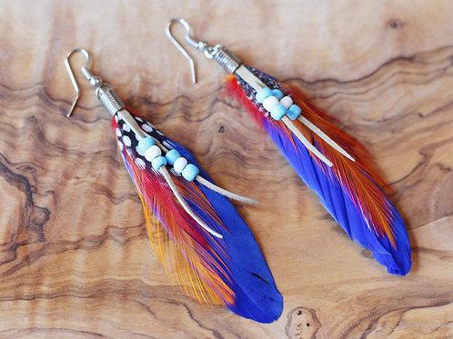 Bird of Paradise Earrings- Cobalt Parrot Red