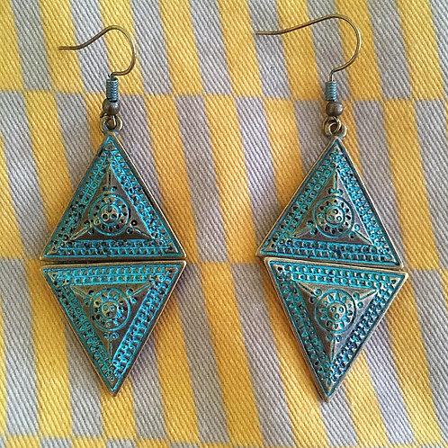 Earth Elements Earrings - Faux Antiqued Oxidised Copper
