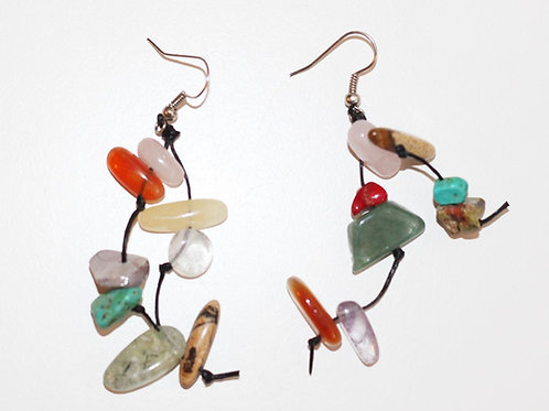Mixology Earrings- Semi-Precious Stones Turquoise Coral Quartz