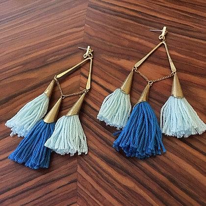 Triplet Trio Tassel Earrings- Azure Sky Blue