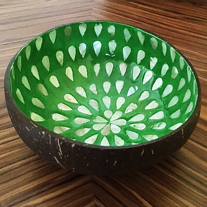 Coconut Bowl with Mother of Pearl Inlay- Green