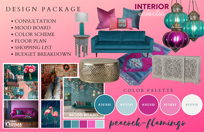 Peacock Flamingo Boho Eclectic Interiors