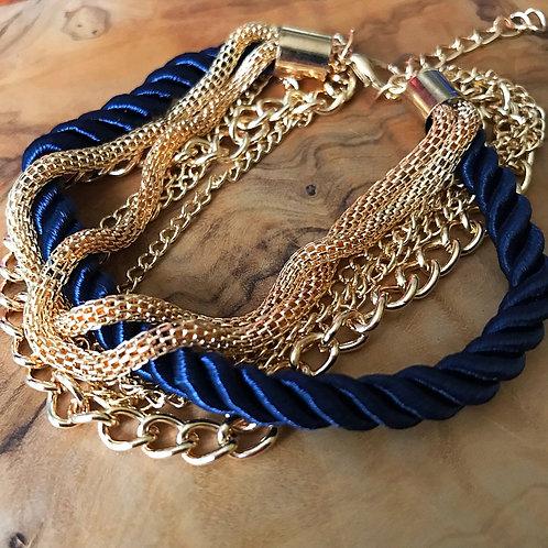 Rihanna Chain Bracelet- Gold & Navy